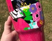 Glitter Cup, Glitter Tumbler, Striped Texas Floral Glitter Cup, Texas Glitter Tumbler, Glitter Dipped, Stripe Texas Decal Cup, Glitter Dip