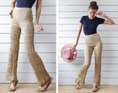 Vintage gold metallic shine knit fitted high waist bell bottom leggings flares leisure relaxed pants S