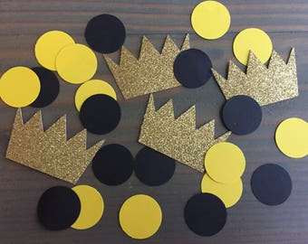 100 Where the Wild Things Are confetti pieces, gold glitter crowns, yellow & black circles, wild one party, wild thing baby shower, decor