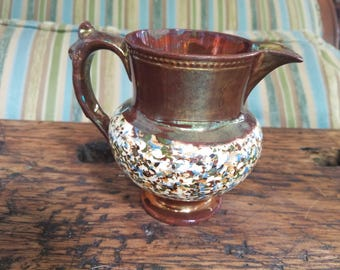 Vintage English Hand-Painted Copper Lustre Pitcher Creamer Jug with White Speckled Band and blue tan and brown Design