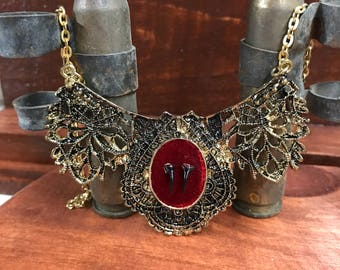 Gorgeous Ornate Tarantula Fang Necklace