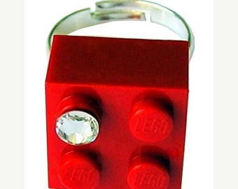 ON SALE Red LEGO (R) brick 2x2 with a Diamond color Swarovski crystal on a Silver/Gold plated adjustable ring finding