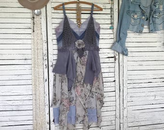 Couture Slip Dress S/M, Upcycled Clothing for Women, Upcycled Dress, Hippie Boho, Hand Dyed, Artwear