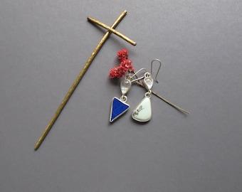 Lapis Lazuli, Turqoise and Moonstone drop earrings