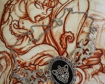 "Necklace cabochon silver felt Boho Chic steampunk ""Punk Panther"""