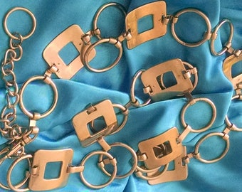 Belt Vintage Steel Long Geometric Squares and Circles Chunky boho Chic, Runway Ready