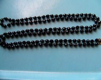 """Vintage Black Glass Beads Flapper Necklace 60"""" Austria"""