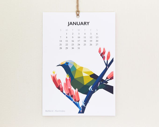 2018 Wall calendar, New Zealand birds calendar, Bird calendar, Geometric calendar, Flora fauna calendar, Kiwiana, Kiwi, tinykiwi calendar