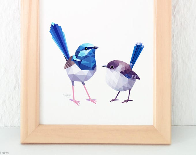Blue wren pair, Splendid fairy wren illustration, Wren print, Blue wren art, Geometric birds, Australian bird art, Feathers, Australian wren
