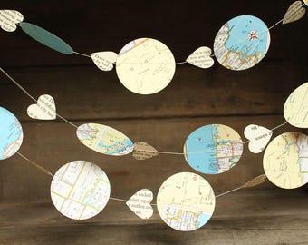 Map Garland, Vintage Atlas Garland, Paper Garland, Bon Voyage Party, Hot Air Balloon Garland, Made to Order, 10 feet long