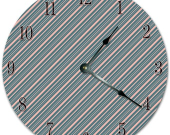 "10.5"" DIAGONAL LINES Clock - Living Room Clock - Large 10.5"" Wall Clock - Home Décor Clock - 5417"