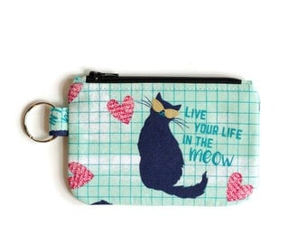 Cat Coin Purse Wallet keychain - Kitty Cat Coin pouch - Cat Change purse - Card Holder - id holder Zipper pouch - Cat Keychain Coin Pouch