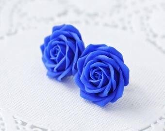 SALE Royal blue flower earrings, blue rose earrings, blue rose stud earrings, blue earrings, wedding earrings, womens earrings, earring stud