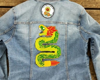 Quetzalcoatl feathered serpent Iron On Back Patch