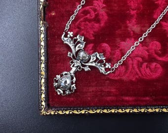 Georgian Diamond Necklace - 17 Rose Cut Diamonds in Silver - 10k White Gold Cable Chain
