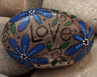 Happy Rock - LOVE - Hand-Painted Beach River Rock Stone - flower garden blue daisy pansy