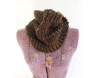 Chocolate Brown short Hermosa Cowl - soft infinity scarf