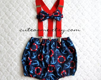 Cake Smash Outfit Boy Girl 1, 2, or 3 piece Diaper Cover Bow Tie Suspenders First Birthday 1st Nautical Anchor Buoy Sailboat Cruise 1