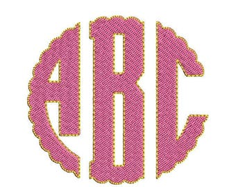 ON SALE Scallop Circle Monogram Embroidery Font - INSTANT Download