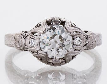 Antique Engagement Ring - Antique 1900's 18k White Gold Diamond Engagement Ring