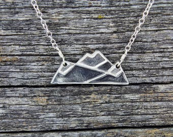 Handmade Sterling Silver Pyramid Mountain Necklace