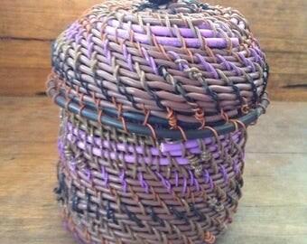 Handmade Recycled Lidded basket