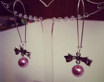 Earrings large bows silver purple ties