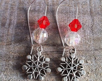 Snowflakes earrings large silvery red 2 clasps