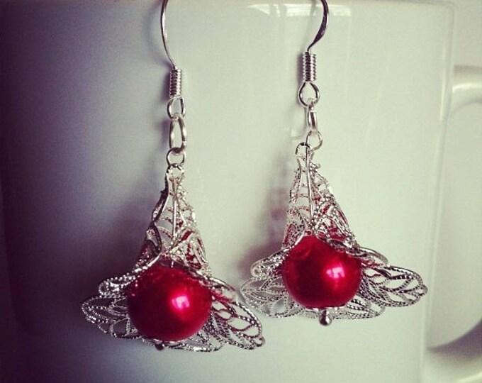 Red glass bead Flower Earrings