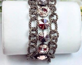 Swarovski Crystal 12MM Triple Row Chunky Antique Brass Bracelet - Designer Inspired - Absolutely Stunning, Classy Cuff - FREE SHIPPING