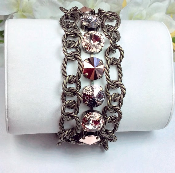 Swarovski Crystal 12MM Triple Row Chunky Antique Brass Bracelet - Designer Inspired - Absolutely Stunning, Classy Cuff - FREE SHIPPING
