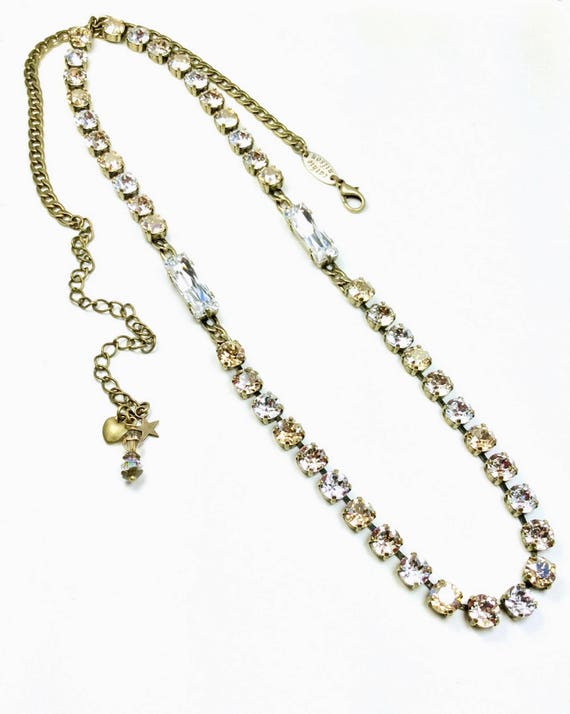 "Swarovski Crystal Necklace -Extra Long ""Blonde Neutrals"" Necklace - Elegant, Sumptuous Accent !  32""+ of Swarovski Sparkle! - FREE SHIPPING"