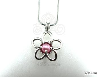 """Pick A Pearl Cage Necklace Silver Plated Flower Outline Charm Holds a Pearl Bead Gem 18"""" Silver Necklace"""