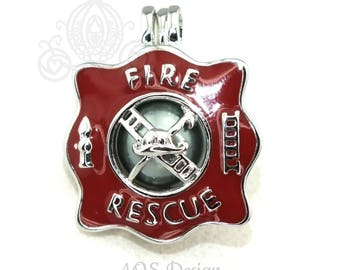 Fire Rescue Pearl Cage Necklace Firefighter Gift Fireman First Responder EMT Firefighter Apparel