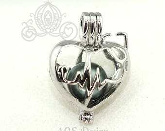 Heartbeat Stethoscope Pearl Cage Necklace Nurse Doctor Medical Professional Silver Plated Locket Charm