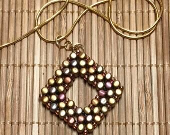 Metallic Pendant Copper Bead Pendant Beadwork Pendant Gold Beaded Pendant Beadwoven Pendant Bead Rainbow Pendant Beadwork Necklace
