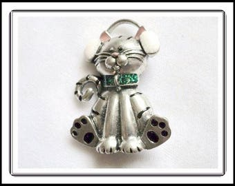 Animated Diva Kitty Cat Pin - Sparkling White Head Phones, Green Rhinestone Collar, Tiger Striped Teenage - Vintage 1990 Pin-2623e-030614005