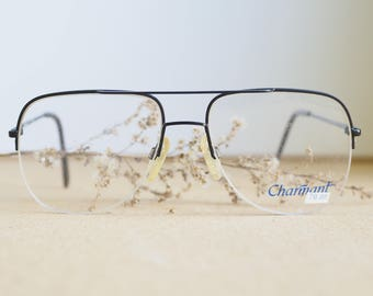 Vintage 70's Eyeglass/Aviator/New Old Stock/1970's Black Toned By Charmant Made In Japan Eyeglasses Retro