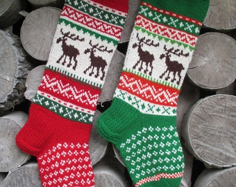 Christmas Stocking Personalized Hand knit Wool Stocking Gray Red White Green  with  Deer  Snowflakes Trees Christmas decoration