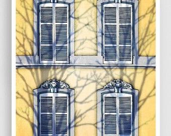 30% OFF SALE: Paris illustration - Shadows (vertical version) - Art Print Poster Paris art Paris decor Home decor Yellow Paris Facade Archit