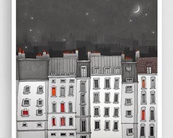 30% OFF SALE: Paris Art Print - You are not alone (grey) - Paris Art Print Houses Illustration Home decor Nursery art Kids wall art Paris Fa