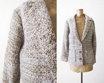 Vintage Knit Sweater - Knit Cardigan - Knit Blazer - Marled Knit Sweater - 70s Clothing - 70s Cardigan - Womens Cardigan Small