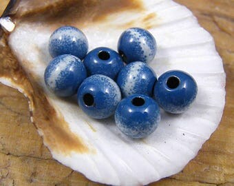 Torched Enameled Copper Beads-City Blues-Bohemian-Boho
