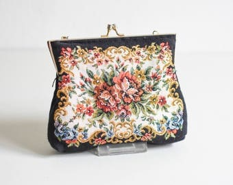 Tapestry purse, embroidered satchel, floral evening bag, small evening bag Ref: 853