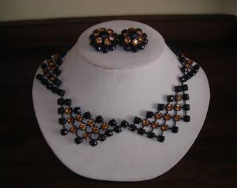 50's Hattie Carnegie demi Parure, black and gold rhinestones, choker and earrings,unusual  trapezoid design
