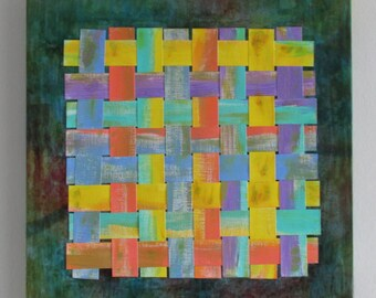 Paper Weaving Acrylic Paint Summer Day Mixed Media Wall Art Contemporary mixed media canvas wall display upcycled art
