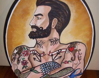 Handsome Bearded Tattooed Muscle Man Portrait painting on oval canvas Original Acrylic Fine Art Gay Interest