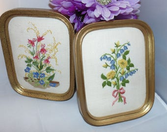 Two Vintage Charming Cathy Needlecraft Flower Crewel needlepoint Finished & Framed Pictures Kitsch farm decor