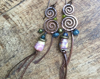 Tribal Artisan Ceramic 'Badulaques' Series earrings 363 - rustic jewelry , floral ceramic and copper . fresh water pearl in green olive