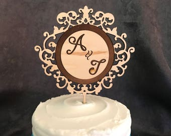 Couple Initials Filigree Circle Wood Cake Topper- Personalize